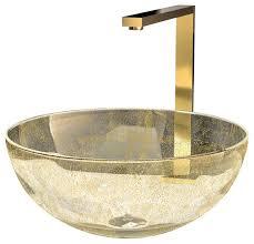 laa calla glass vessel sink gold