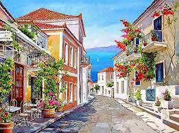 greece galaxidi watercolor landscapes by pantelis d