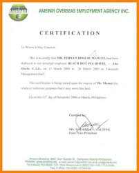 Example Of A Certificate Employment Ultramodern Quintessence Letter