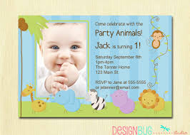 first birthday boy invitation with baby jungle theme and striped blue background designed by designbugstudio