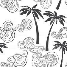 熱帯のヤシと波夏のシームレスなパターン白い背景に白黒のベクトル イラスト