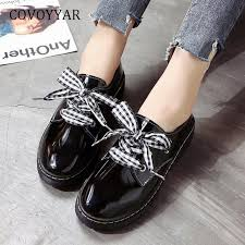 covoyyar new 2019 classic brogue shoes platform patent leather oxfords women flats plaid lace up csaual