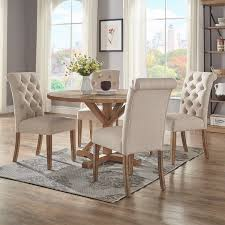 benchwright rustic x base 48 inch round dining table set by inspire with designs 9