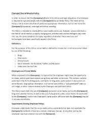 business policy example company social media policy template by gregg towsley