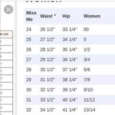 Miss Me Size Chart Womens Sizing Chart For Miss Me Jeans