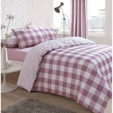 pieridae gingham pink check reversible stripe duvet quilt cover bedding set double on on