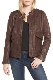 image of hinge pocket detail leather jacket