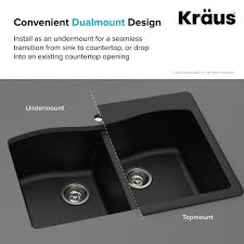 kraus forteza 8482 33 dual mount single bowl black granite kitchen sink