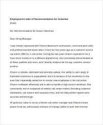 Reference Letter For Coworker 13 Coworker Recommendation Letter Templates Pdf Doc Free