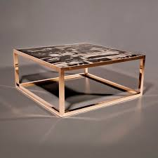 contemporary coffee table petrified wood bronze stainless steel