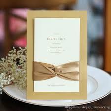 2017 Classic Bow Ribbon Wedding Invitations Blank Inner Sheet Wedding Invitation Flowers Wedding Cards With Envelopes Custom Personalized Wedding