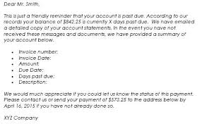 Past Due Bill Letter Invoice Letter Sample Past Due Email Template Bill Date