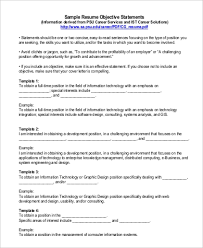 Sample Resume Objectives Statements 9 Resume Objective Statement Samples Examples Templates