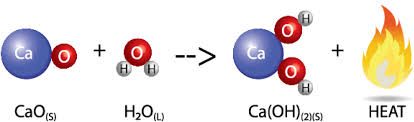 this process produces thermal energy through an exothermic reaction below is the equation for forming solid calcium hydroxide
