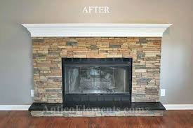 stone over brick fireplace remodeled fireplace stone veneer over brick fireplace cost