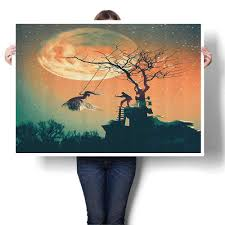 Painted Sky Designs Swings Amazon Com Wall Art Painting Spooky Night Zombie Bride And