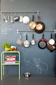 hanging pots and pans on wall chalkboard paint on open kitchen wall hanging pots pans pots