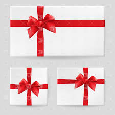 Red Ribbon Design White Gift Box Tied With A Red Ribbon And Bow Stock Vector Image