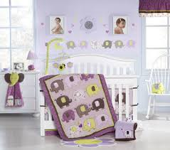image of purple elephant crib bedding