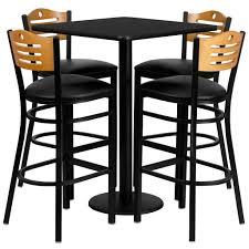 black furniture. Flash Furniture 30\u0027\u0027 Square Black Laminate Table Set With Metal Barstools