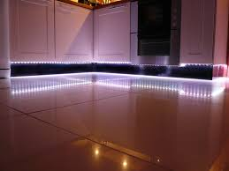 Cool White LED Strip Lights look amazing as plinth lights in the kitchen.