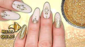 REAL 24CT GOLD NAILS!! LUXE MATTE NUDE, GOLD GLITTER, CRYSTAL ...