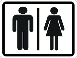 Restroom signs Arrow Sala Graphics Man And Woman Symbol Restroom Sign Signs By Salagraphics