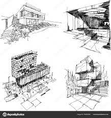 четыре руки Drawn Architectectural эскизы современной абстрактной