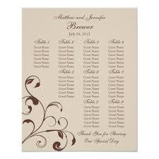 Standard Seating Chart Size Wedding Reception Seating Chart Standard Sizes
