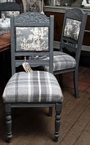A set of four Victorian chairs painted in Autentico Pigeon Grey and  reupholstered in Balmoral Tartan