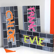 graffiti girl name canvas hand painted by liza j design