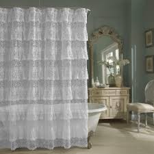 Priscilla Curtains Living Room White Cotton Shower Curtain Ruffle