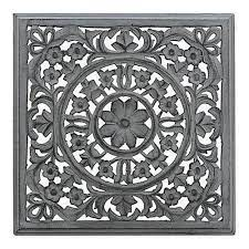grey carved square wooden wall panel