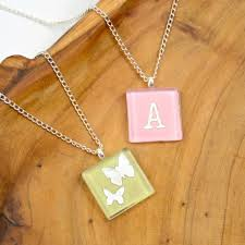 diy glass tile necklaces with sbook paper