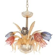 mid century murano glass chandelier with tulip motif