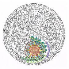 Small Picture Coloring for Adults Yin Yang Moon and Sun Printable adult