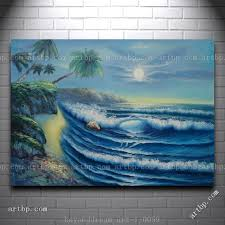 evening blue ocean wave with palm trees oil painting naturalism seascape famous realistic paintings wall frame