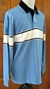 details about euc ll bean mens sz l blue white striped l s corduroy collar polo rugby shirt
