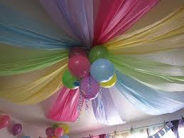 rainbowsandunicornscrafts: DIY Rainbow Birthday Party Ceiling. Cheap  plastic table cloths were used instead of