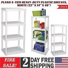 details about plano 4 tier heavy duty plastic shelves white 22 x 14 x 48
