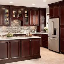 elegant cabinets lighting kitchen. Stone Backsplash Design With Elegant Coffee Color Cabinet Using Modern Recessed Light For Formal Kitchen Cabinets Lighting