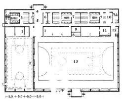 Реферат Проектирование спортивных сооружений com  Рис 3 Большой и малый спортивные залы при Дармштадтском высшем техническом училище 1 снарядная 2 малый зал 3 мужская раздевальня 4 вахтерская