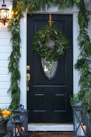 O Christmas Front Door Holiday Home Oranges Lanterns Garland