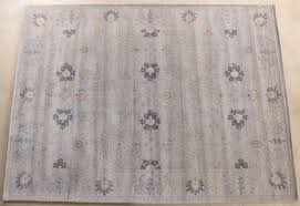 9 x 12 traditional indian gray and tan hand tufted wool rug