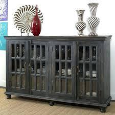 glass door credenza sideboards rustic dark wood sideboard with four for elegant dining room design
