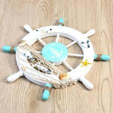 ship wheel wall decor beach wooden boat steering fishing net shell home decoration rustic