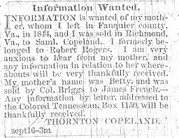 how slavery affected african american families dom s story  ad in the colored tennessean newspaper in nashville tennessee 7 1865