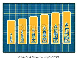 Gas Rig Icons On Blueprint Chart Diagram Consumption Growth