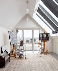 workstation lighting. Artist Studio Workstation Home Office Contemporary With City View Bookcases Lighting