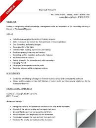 Resume Template For Restaurant Manager 95 Restaurant Manager Resume Sample Restaurant General